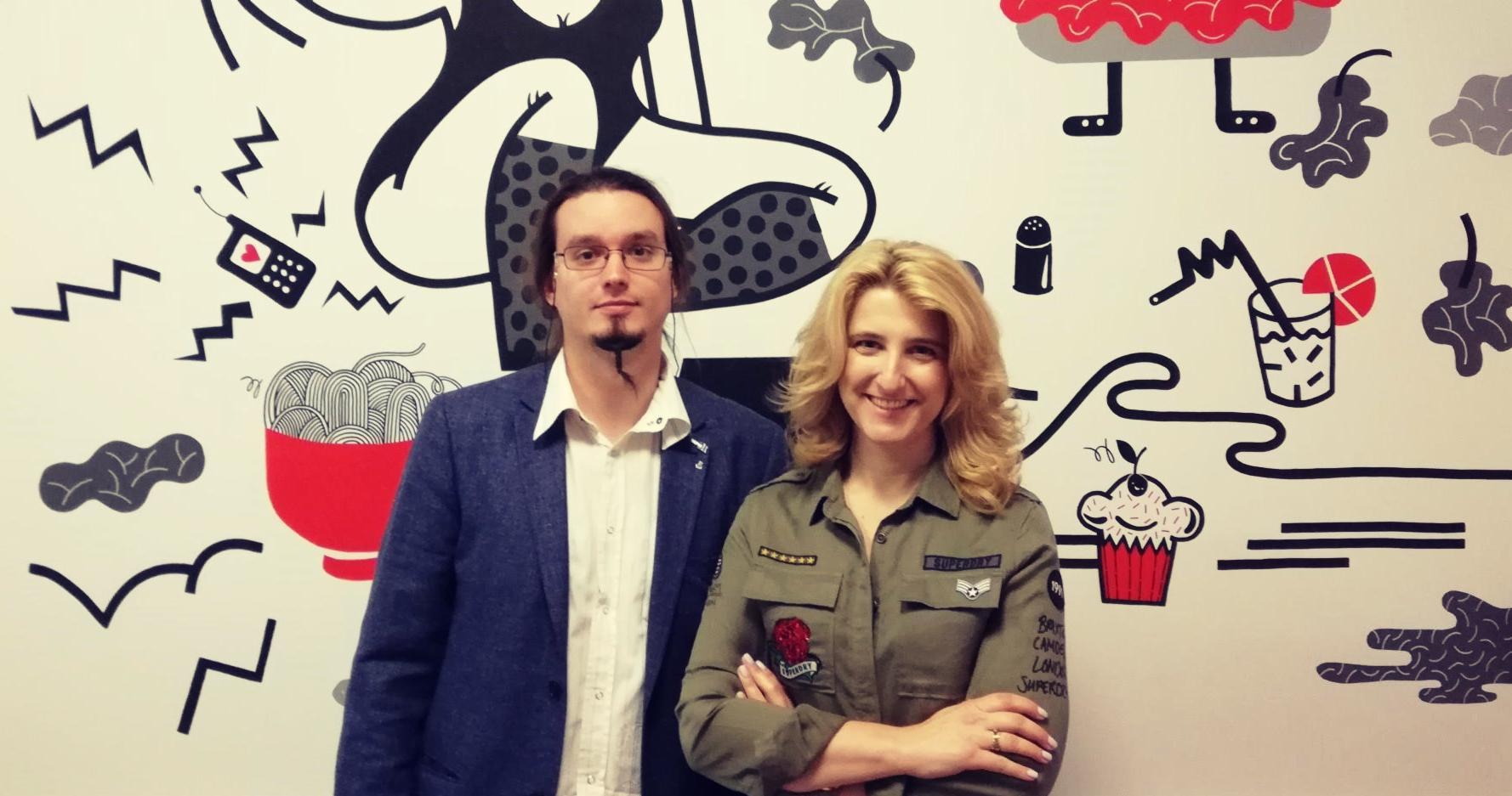 Tomasz (Mentee), uczestnik programu Mentors for Starters oraz Grażyna Piotrowska – Oliwa (Mentor).
